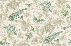 Crowe Hall Lane Paradise (0282CWPARAD) - Little Greene Wallpapers - A large-scale, late 19th C wallpaper with a bold pattern of exotic birds, butterflies and flowers, set against a subtle trail. Shown in the Paradise blues and greens on stone grey. Please request sample for true colour match.