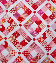 A Strawberry Nine Patch Quilt       This one is an old favorite and a remake of a quilt that I made way back in 2008. The  original Strawbe...
