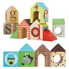 Alphabet Zoo ABC House Blocks: solid wooden blocks encourage toddlers to create a town, complete with roofs, windows and doors. Turn pieces upside-down to nest within one another. Letters and animals help little ones learn the alphabet. Toddler Toys, Baby Toys, Kids Toys, Children's Toys, Baby Baby, Baby First Birthday, Birthday Gifts, Baby List, Wood Letters