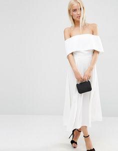 Image 1 ofASOS Soft Off The Shoulder Bardot Midi Prom Dress