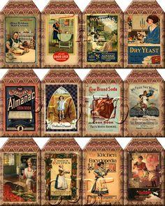 BuY OnE GeT OnE FREE -pRiMiTiVe  AnTiQuEd CoOKBOOK CoVERS ViNtAgE ArT Hang Tags- Printable Collage Sheet JPG Digital File. $2.50, via Etsy.