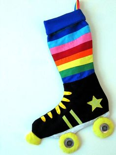 Rainbow Derby Skate Christmas Stocking... shut the front door!