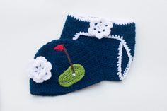 BABY GOLF BEANIE, Baby Golf Diaper Set, Crochet Girls Hat, Baby Golf Photo Prop, Newborn Baby Golf Navy Blue, Knit Golf Beanie Diaper Outfit by Grandmabilt on Etsy