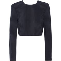 DKNY Cropped pinstriped stretch wool-blend top found on Polyvore featuring tops, crop tops, shirts, sweaters, purple, dkny tops, button crop top, cross back top, crop shirts and pinstripe shirt