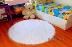Mongolian White Faux Fur Rug 5' Round Luxury Plush by PlushFurever, $111.06 Visit our website for 10% OFF Discount https://www.etsy.com/shop/PlushFurever