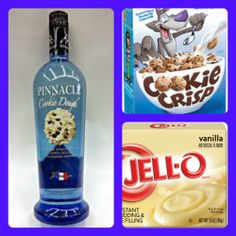 Cookie Crisp Cereal Pudding Shots 1 small Pkg. vanilla pudding (instant, not the cooking kind) ¾ Cup Milk ¾ Cup Pinnacle Cookie Dough Vodka 8oz tub Cool Whip  Directions 1. Whisk together the milk, liquor, and instant pudding mix in a bowl until combined. 2. Add cool whip a little at a time with whisk. 3. Spoon the pudding mixture into shot glasses, disposable 'party shot' cups or 1 or 2 ounce cups with lids. Place in freezer for at least 2 hours