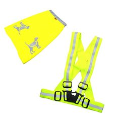 HQRP Safety Reflective KIT - Fluorescent Vest & Dog Vest for Safe Nigth Dog Walking, Jogging, Running, Cycling - High Visibility Neon Yellow >>> Check out the image by visiting the link.