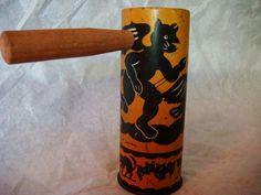 Vintage Halloween Noisemaker ~ Winged Devil Tin Rachet w/ Wooden Handle * Circa, 1930's
