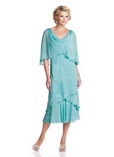 A-Linie/Princess-Linie Cowl Neck Wadenlang Chiffon Kleid für die Brautmutter mit Perlen verziert (0085055938) - vbridal