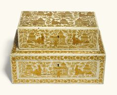 Two Anglo-Indian gilt decorated white ground japanned boxes, Bareilly, century Modern Art, Contemporary, 19th Century, Decorative Boxes, Auction, Indian, Prints, Contemporary Art, Indian People