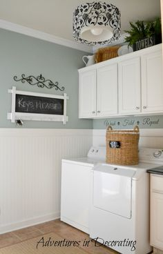 Adventures in Decorating Mudroom Changes {beautiful} Walls: Benjamin Moore - Wythe Blue; Ceiling: White Sand. Cabinets: Anne Sloan -- Pure White. Lovely~~~ July, 2012. For a complete tour of her fabulous  mudroom/laundry room visit her