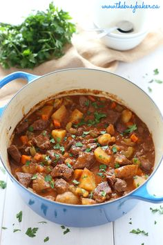 Business Cookware Ought To Be Sturdy And Sensible This Best Ever One Pot Beef Stew Is An Easy, Classic Beef Stew Recipe That Cooks To Perfection On The Stove Top And In The Oven. It's The Best Comfort Food Recipe From Thebusybaker. Stew Meat Recipes, Beef Recipes For Dinner, Cooker Recipes, Recipe Stew, Recipe Recipe, Family Recipes, Moose Stew Recipe, Stewing Beef Recipes, Diced Beef Recipes