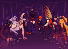Party till dawn - - - This took so long to colour I am actually embarrassed, anyway my Akatsuki print is finished! Thanks to coop I've gotten so full throttle back into Naruto lately and just aaaa. Naruto Uzumaki Shippuden, Sasunaru, Itachi, Boruto, Anime Akatsuki, Anime Naruto, Pokemon, Otaku Anime, Manga