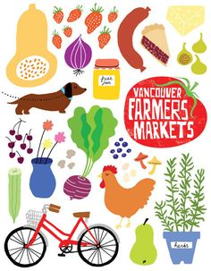 Absolutely love the illustrations used by Vancouver Farmers Market. by Jane Koo