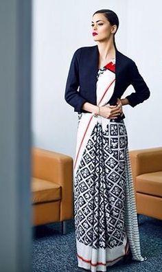Jacket over sari