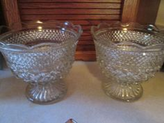 Depression Glass Bowl  1950/'s  MCM Anchor Hocking  Serving Bowl with Handles  Clear Glass with Rainbow Design  Medium Sized
