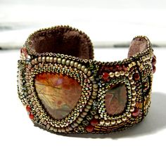 Bead Embroidered Cuff Bracelet of Cherry by amyjohnsondesigns, $265.00