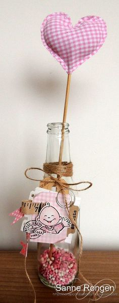 Fabric heart in a bottle with cute tag.