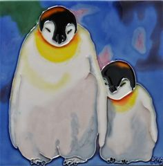 Penguin Mom and Baby Tile Wall Decor