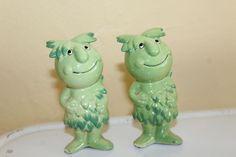 Sprout, The Green Giant's friend SALT & PEPPER SHAKER SET Box 16 #SaltandPepperShaker