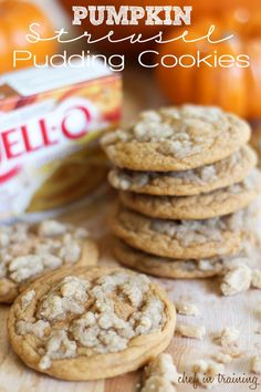 Pumpkin Streusel Pudding Cookies!... One of my new favorite fall recipes! These cookies are so soft and delicious! #cookie #recipe