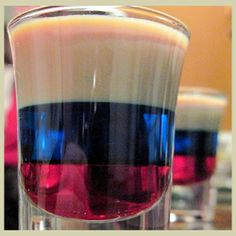 A Red Arrow Shot - grenadine, blue curacao & baileys - looks and tastes amazing.