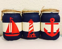 Nautical mason jar home decor - Geschenke Ideen Wine Bottle Art, Wine Bottle Crafts, Mason Jar Crafts, Mason Jar Diy, Wine Glass Designs, Painted Jars, Nautical Baby, Crafts To Make And Sell, Jar Gifts