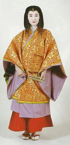 """Scan from book """"The History of Women's Costume in Japan."""" Scanned by Lumikettu of Flickr. Exacting recreation of Japanese costume many centuries ago…"""