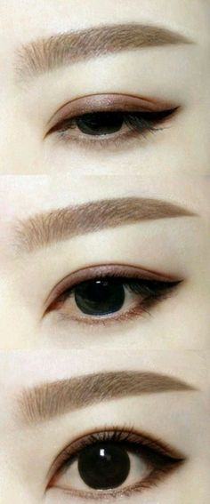 Make-up Make-up concepts asian eyes eyeliner concepts Maternity Wedding ceremony Costum Korean Eyebrows, Korean Eye Makeup, Asian Makeup, Japanese Eyebrows, Make Up Tutorials, Korean Makeup Tutorials, Eyeshadow Tutorials, Beauty Make-up, Beauty Secrets