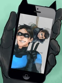 Dick Grayson (the first robin boy wonder and later turning into nightwing and then batman & Damian Wayne ( The first batman Bruce Wayne son mother Taliha Ghul ) Nightwing, Batgirl, Batwoman, Damian Wayne, Batman Y Superman, Batman Robin, Robin Dc, Arte Dc Comics, Dc Comics Superheroes