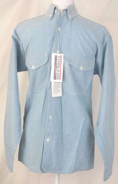 Threads Unlimited Shirt S Blue Button Front Long Sleeve Cotton Mens Dress  #ThreadsUnlimited #ButtonFront