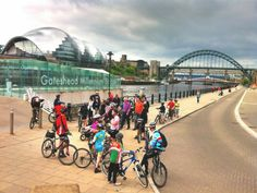 Family Cycling Holidays on the Hadrian's Cycleway ending with a final day's cycling past all of the bridges on Newcastle's Quayside as you head towards the coast. Group cycling with Saddle Skedaddle's Family Holidays