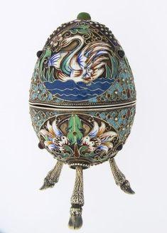 Rare Antique Russian Silver Gilt Cloisonne Enamel Egg C.1908 comes from the Ruby Lane Shop of jewel Cornucopia.