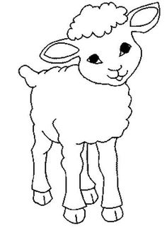 Easy Coloring Pages, Animal Coloring Pages, Coloring Sheets, Coloring Books, Applique Patterns, Craft Patterns, Carrot Drawing, Sheep Drawing, Outline Drawings