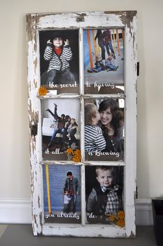 When you can find an old window with lots of panes and the glass all in tact, you just have to use it to showcase pictures!  This project goes one step further by adding fun words and flowers.
