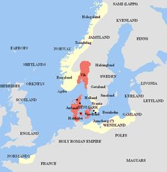 Harald's kingdom (in red) and his vassals and allies (in cream), as set forth in Heimskringla, Knytlinga Saga, and other medieval Scandinavian sources. Danish Vikings, Ottonian, Nordic Vikings, Holy Roman Empire, Early Middle Ages, Old Norse, Thing 1, Viking Age, History Channel