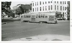 Capital Transit PCC turns on to 5th Street from F Street NW (Route 42 - 13th and D NE) (1950s).