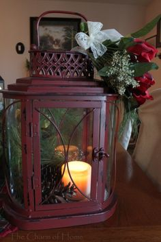 Like the simplicity of just the candle and pinecones.  Maybe something from the top .... but not overly done.