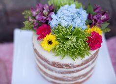 Naked floral cake at a 5th Birthday Tea Party via Kara's Party Ideas KarasPartyIdeas.com