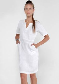 100% Linen V-Neck Dress With Pockets and 2/4 Sleeves in White   Shop   Claudio Basic