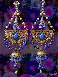 Magical Exotic Blue Opal Tiered Chandelier Earrings East Indian Jhumka Earrings, Periwinkle Blue, Bohemian Gypsy Earrings