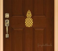 Pineapple decal for front door or wall - welcome pineapple wall decal - preppy pineapple vinyl sticker for door - classic elegant wall decal
