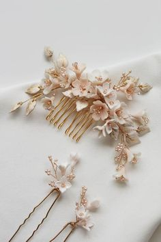 CHERRY BLOSSOM wedding hair pieces 3 This dreamy palette of soft champagne, pale gold and blush tones was inspired by the softness of light upon delicate cherry blossoms Bridal Hair Pins, Headpiece Wedding, Bridal Headpieces, Wedding Veils, Garter Wedding, Wedding Garters, Hair Wedding, Wedding Bouquets, Wedding Flowers