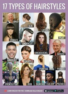 hair styles name Learn English For Free, Learn English Grammar, Learn English Words, English Idioms, English Language Learning, English Study, English Class, English Lessons, Teaching English