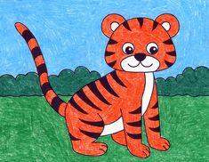 Tiger Artwork, Tiger Painting, Kids Artwork, Painting For Kids, Art For Kids, Tiger Drawing For Kids, Tiger Cartoon Drawing, Cartoon Drawing For Kids, Easy Animal Drawings