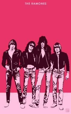American punk rock band, The Ramones. The Ramones Joey Ramone, Ramones, Rock Posters, Band Posters, Music Posters, Rock N Roll Music, Rock And Roll, Bob Marley Art, Arte Punk