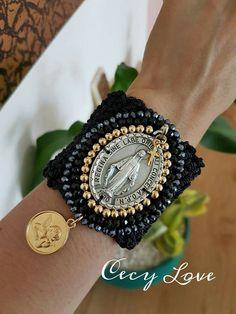 Textile Jewelry, Fabric Jewelry, Beaded Jewelry, Handmade Jewelry, Bead Loom Bracelets, Crochet Bracelet, Urban Jewelry, Catholic Jewelry, Jewelry Crafts