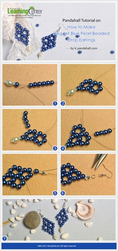 Pandahall Tutorial on How to Make Elegant Blue Pearl Beaded Drop Earrings from LC.Pandahall.com