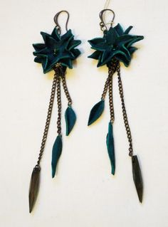 earrings by adrianadelfino.com  - leather, chains and glass vintage elements