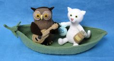 Cute Alan Dart Knitting pattern - The Owl and the Pussycat with handknitted boat. Pattern to purchase (£2.50)